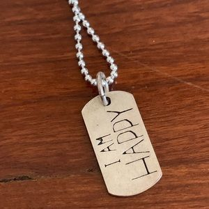 "Dogeared ""I am Happy"" dog tag necklace"